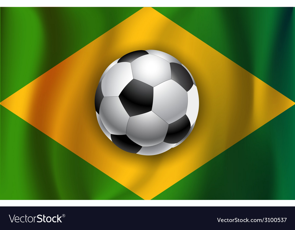 Brazilian country flag with soccer football ball vector | Price: 1 Credit (USD $1)