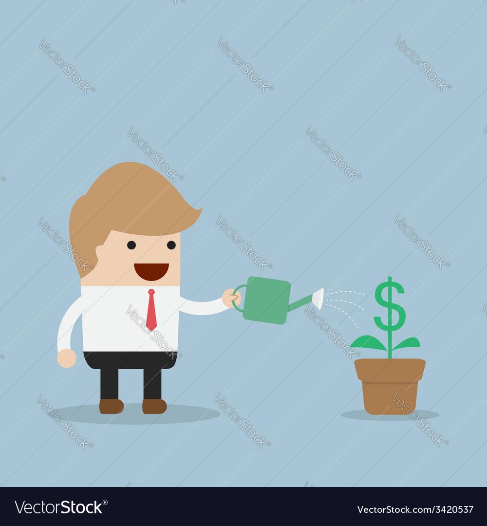 Businessman watering dollar plant vector | Price: 1 Credit (USD $1)