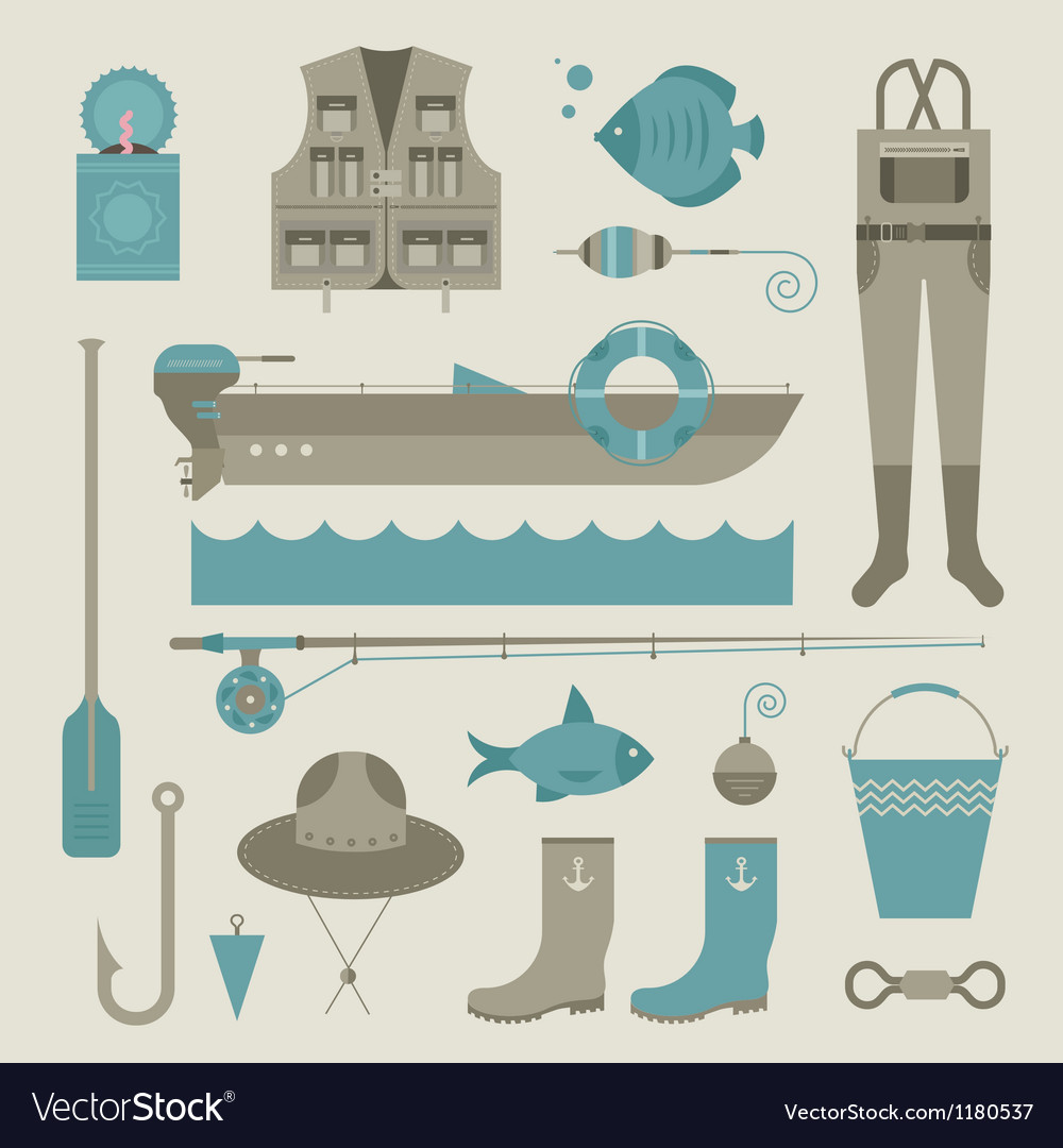 Fishing icons vector | Price: 1 Credit (USD $1)