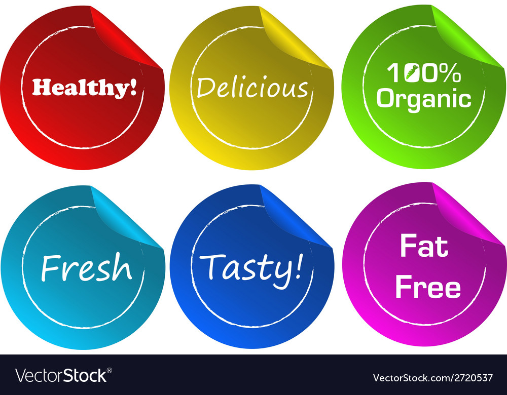 Food label stickers vector | Price: 1 Credit (USD $1)