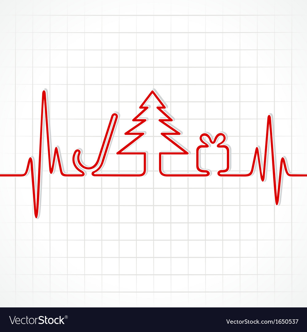Heartbeat make christmas symbols vector | Price: 1 Credit (USD $1)