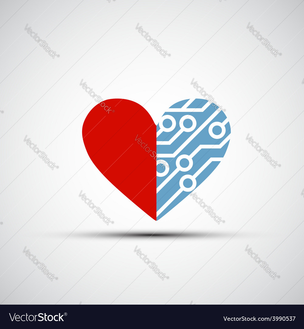 Icon of human heart and circuits vector | Price: 1 Credit (USD $1)