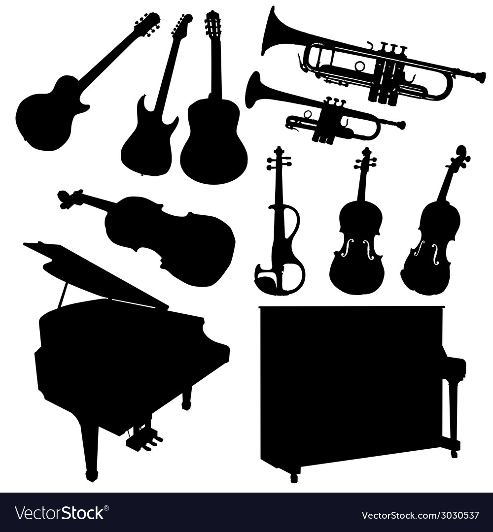 Music instrument black vector | Price: 1 Credit (USD $1)
