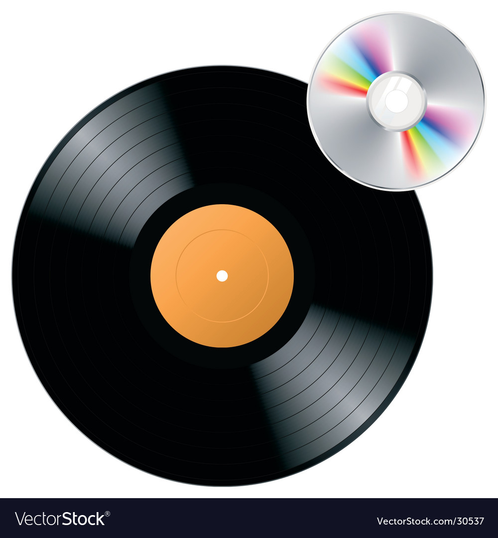 Vinyl record with cd vector | Price: 1 Credit (USD $1)