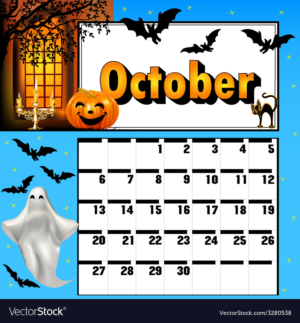 Calendar for october bats and pumpkin vector | Price: 1 Credit (USD $1)