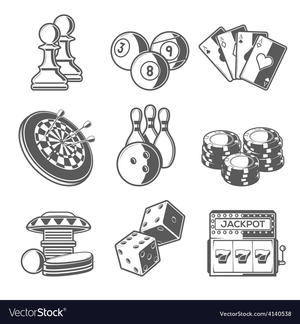 Casino sport and leisure games icons chess vector | Price: 1 Credit (USD $1)