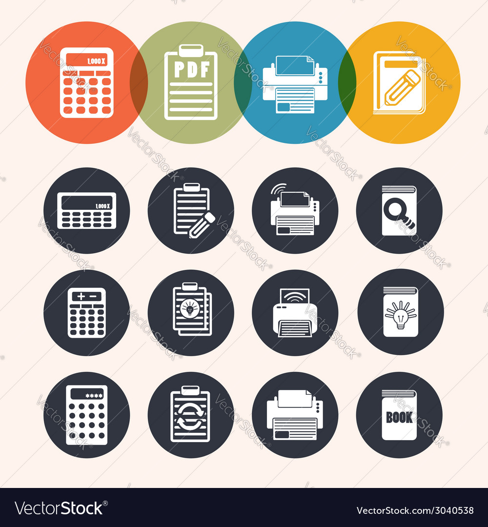 Collection circle series icons calculator notepad vector | Price: 1 Credit (USD $1)