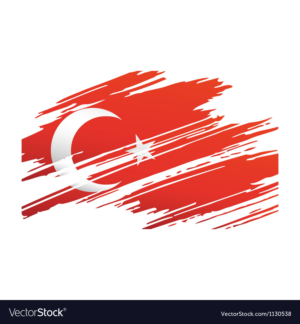 Flag turkey in the form traces brush vector | Price: 1 Credit (USD $1)
