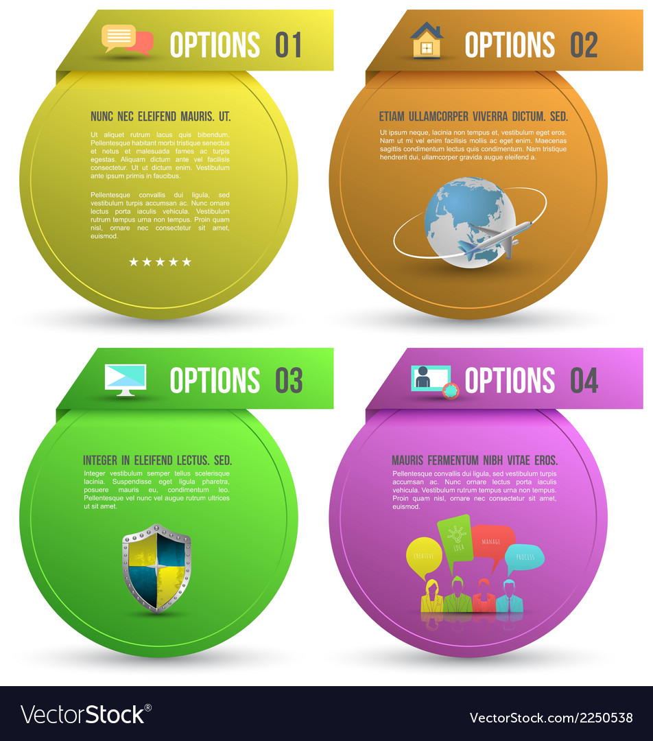 Options for four steps with icons vector | Price: 1 Credit (USD $1)