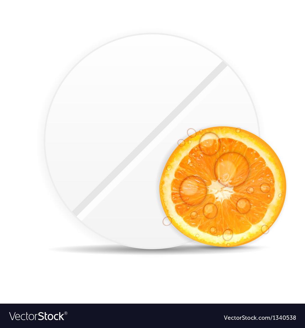 Orange pill iconenvironment background vector | Price: 1 Credit (USD $1)