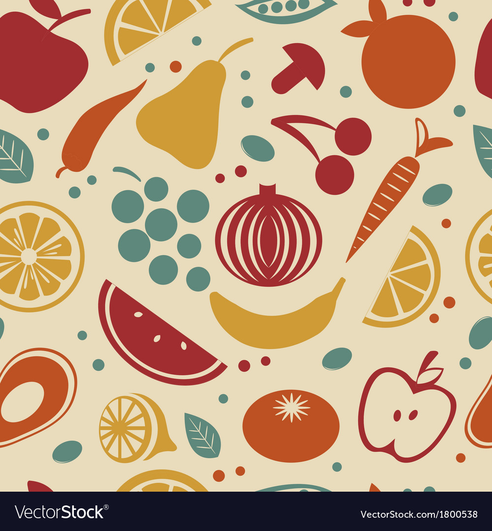 Retro style fruit and vegetables pattern vector | Price: 1 Credit (USD $1)