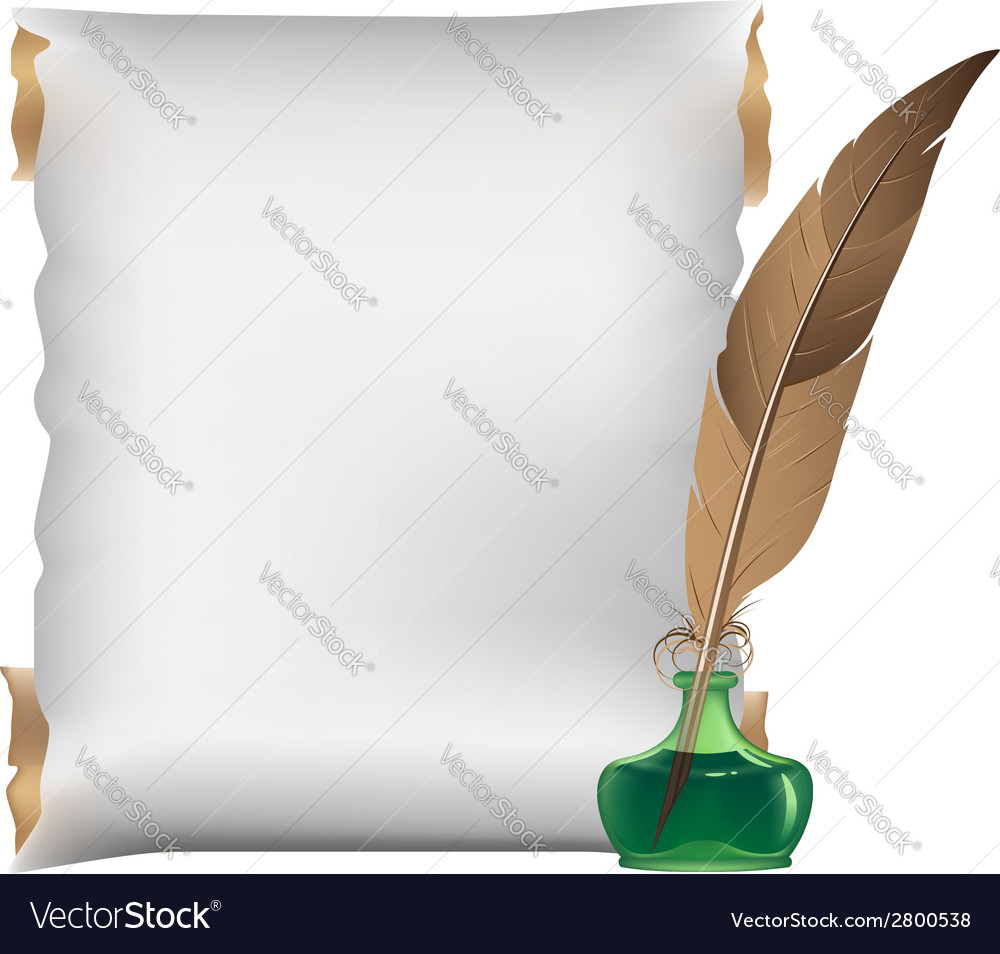 Scroll feather and inkwell vector | Price: 1 Credit (USD $1)