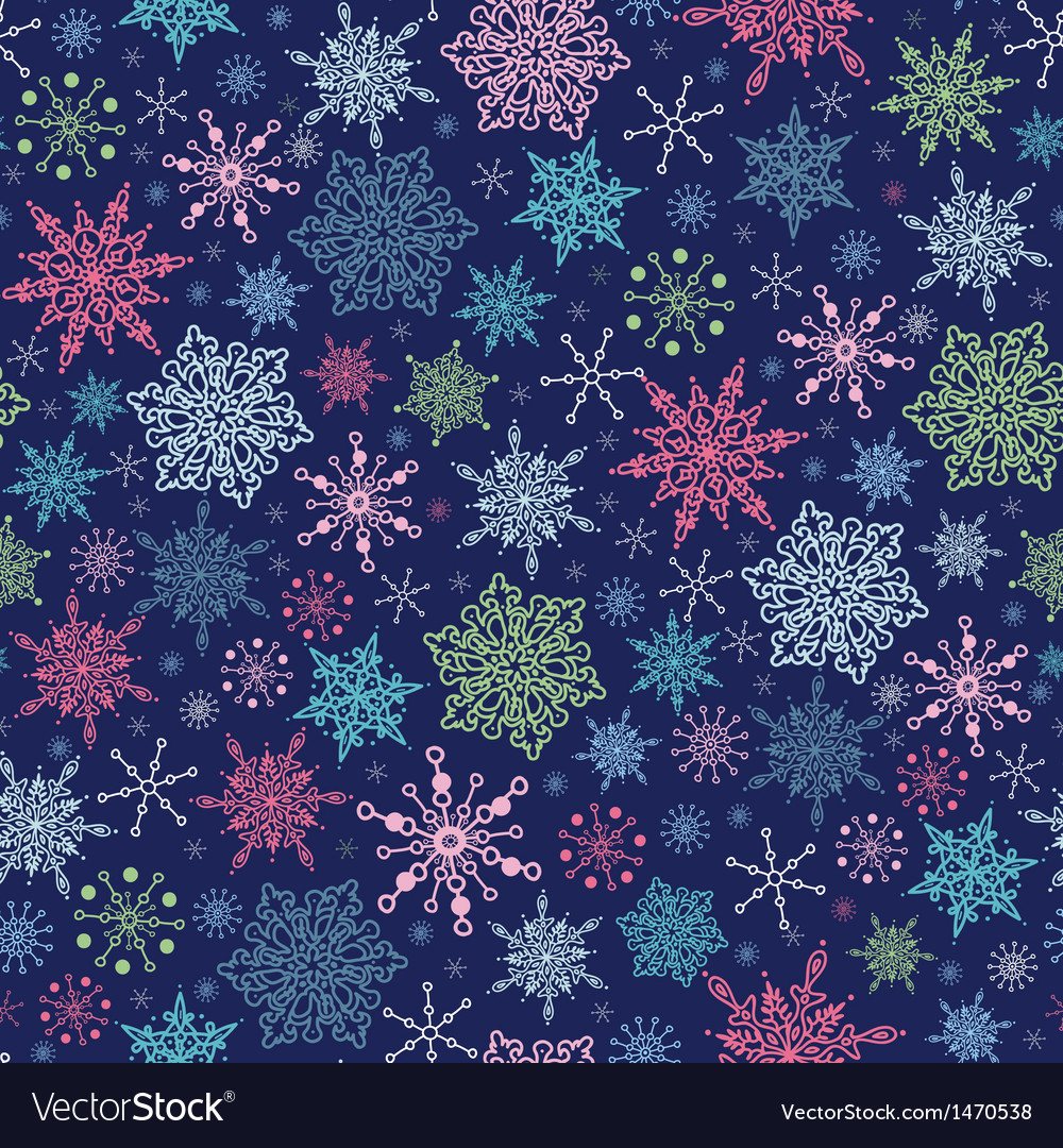 Snowflakes on night sky seamless pattern vector | Price: 1 Credit (USD $1)