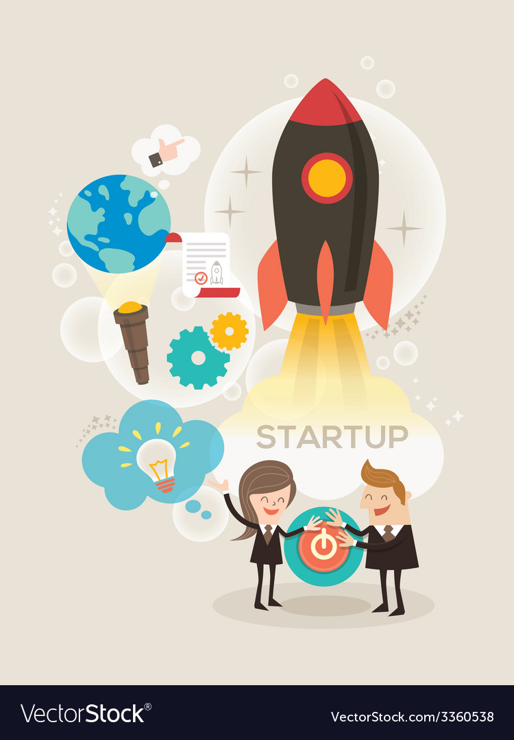 Start up business concept idea rocket launch vector | Price: 1 Credit (USD $1)