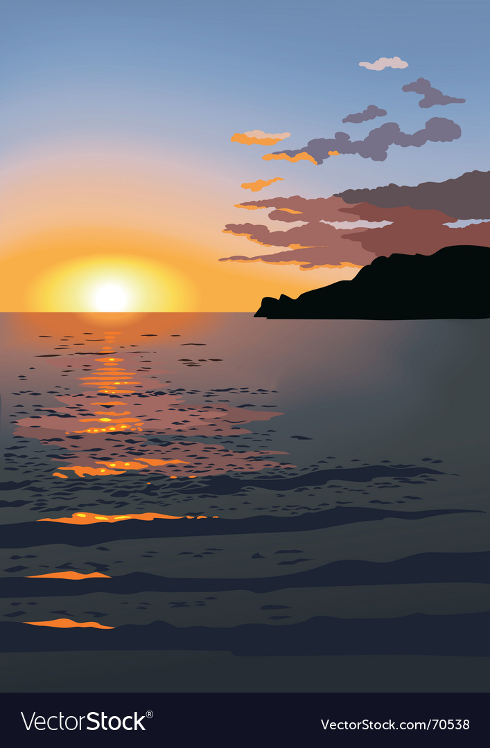 Sunset at sea vector   Price: 1 Credit (USD $1)