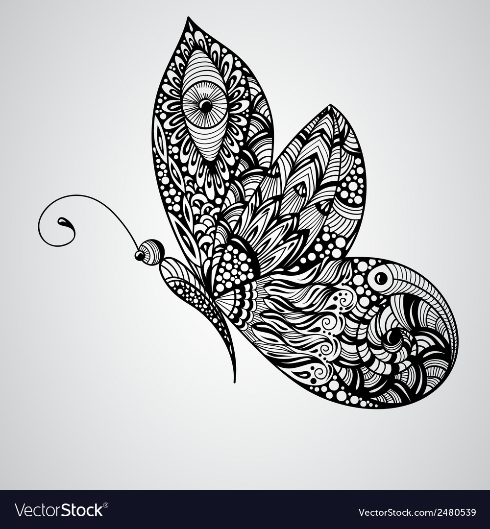 Black butterfly tattoo syle vector | Price: 1 Credit (USD $1)