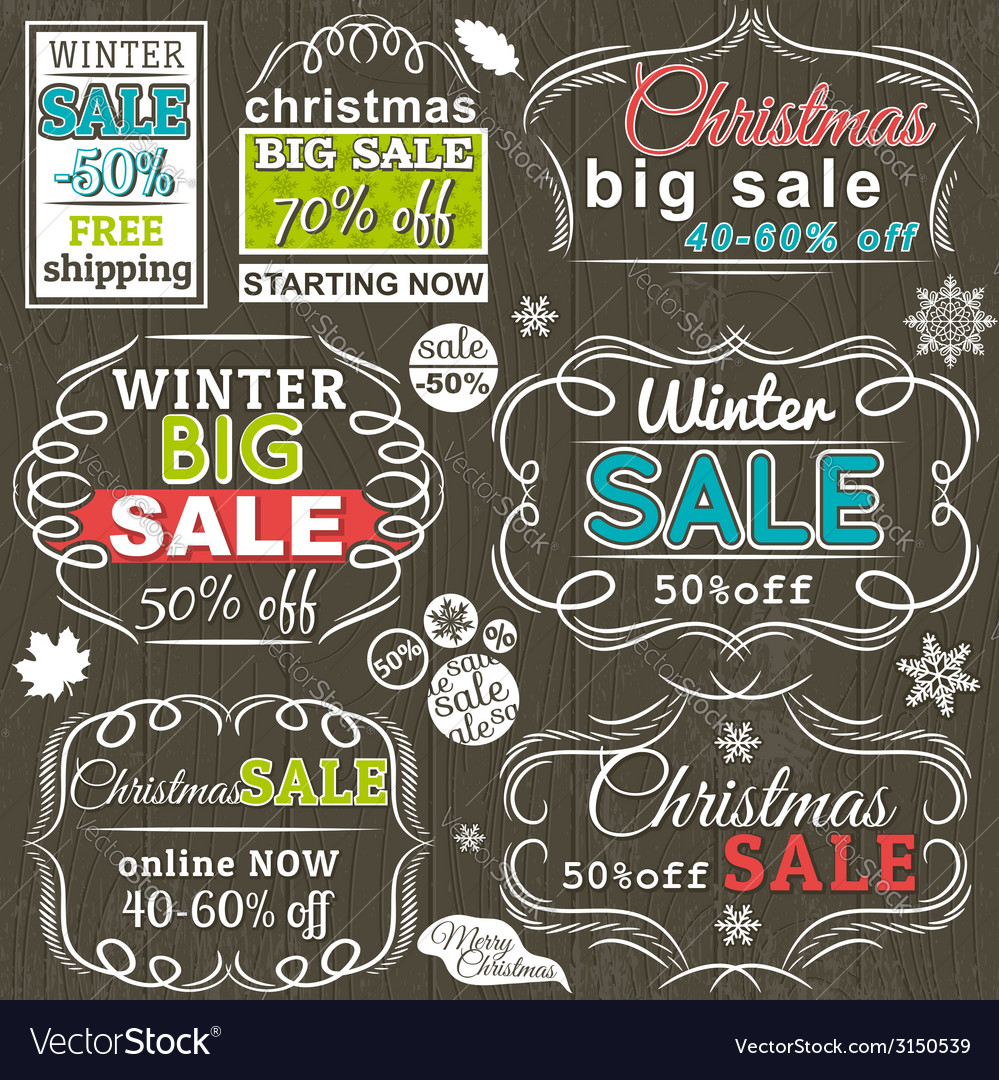 Christmas labels with sale offer vector | Price: 1 Credit (USD $1)
