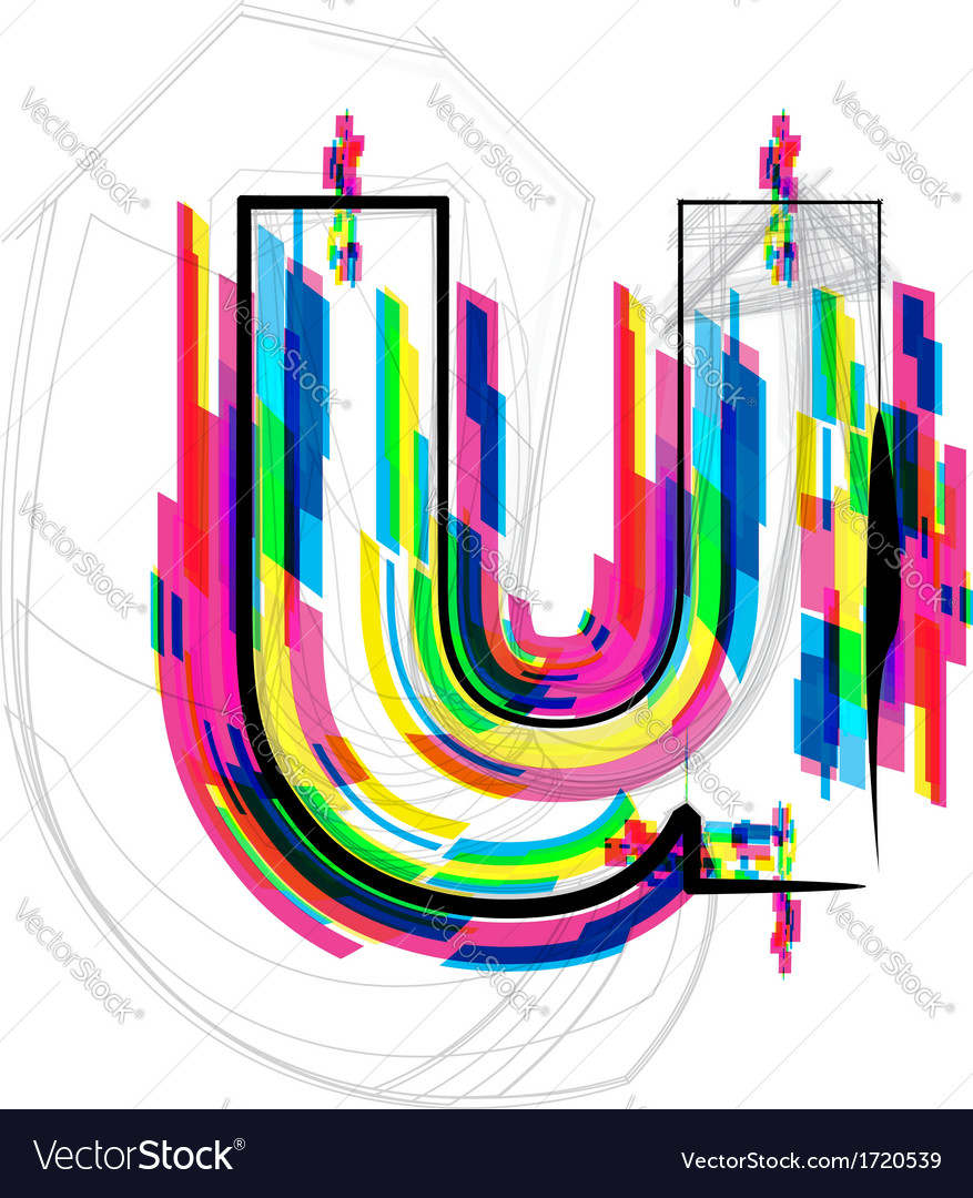 Colorful font - letter u vector | Price: 1 Credit (USD $1)