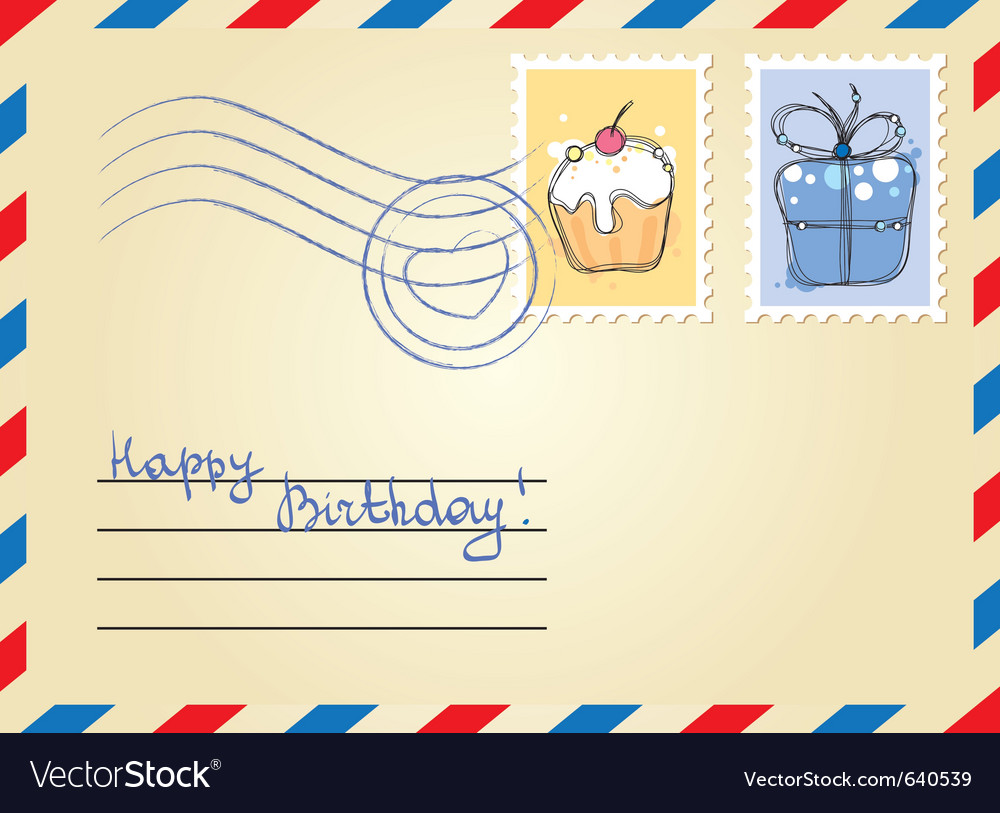 Envelope with stamps vector | Price: 1 Credit (USD $1)