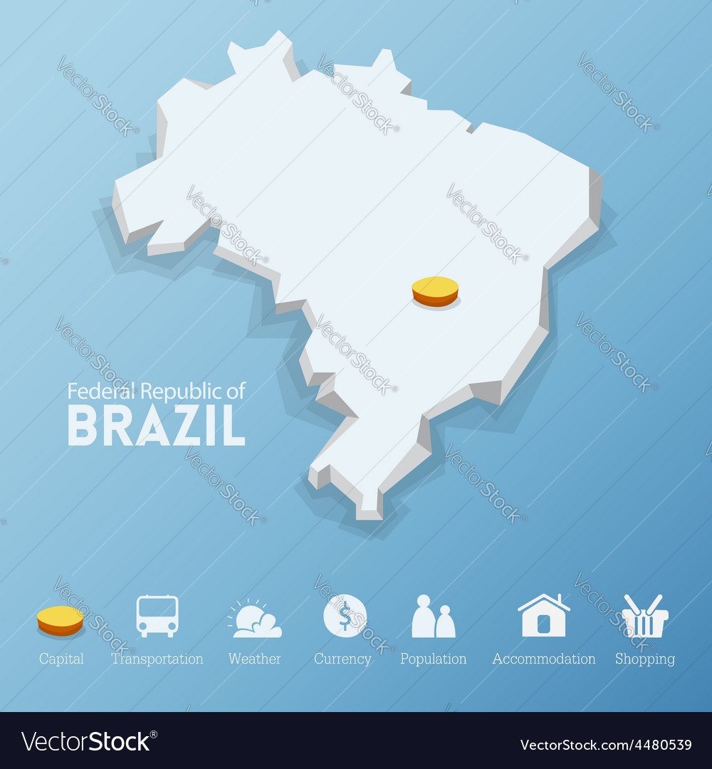 Federal republic of brazil map vector | Price: 1 Credit (USD $1)