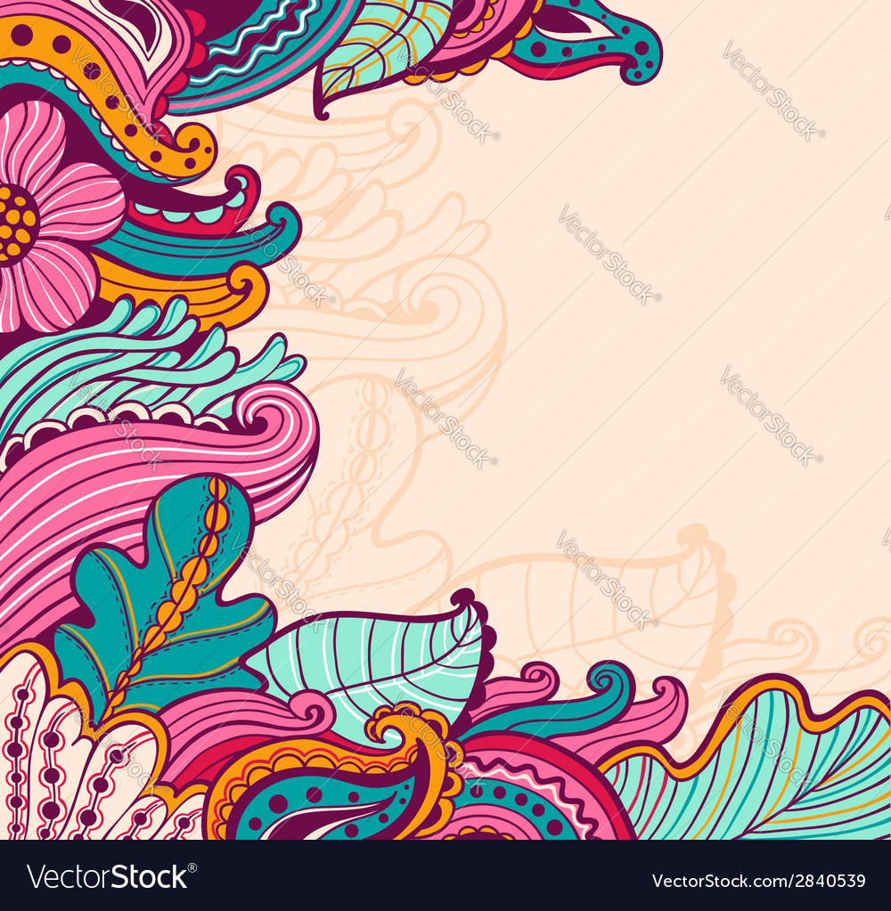 Hand drawn floral background vector | Price: 1 Credit (USD $1)