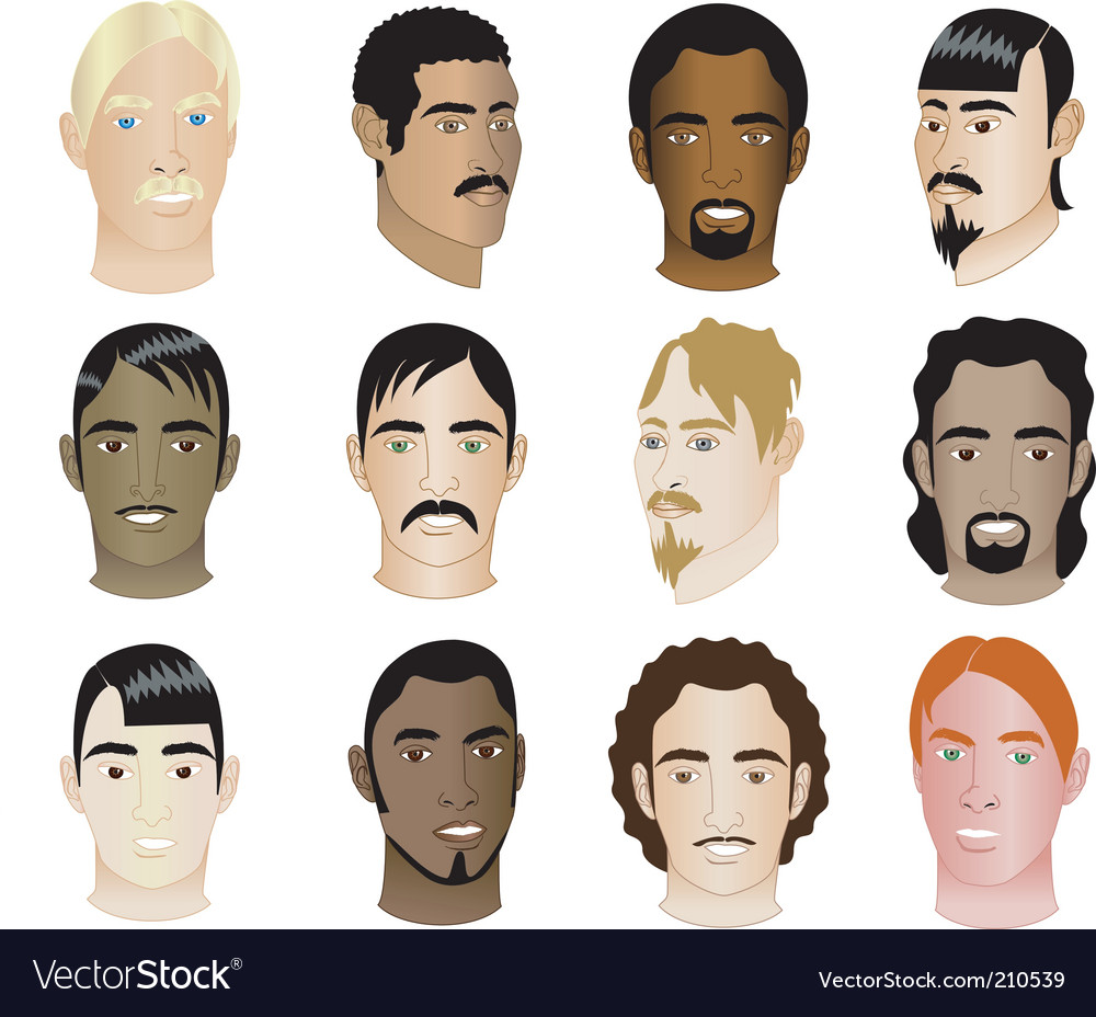 Men faces vector | Price: 1 Credit (USD $1)