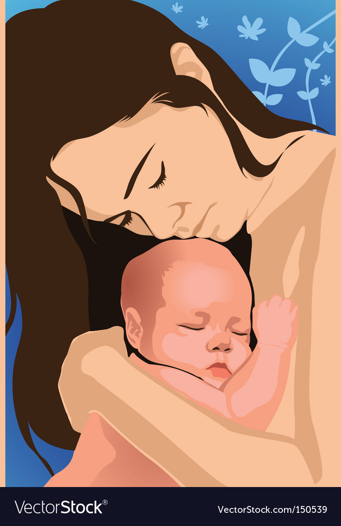 Mom and baby vector | Price: 1 Credit (USD $1)
