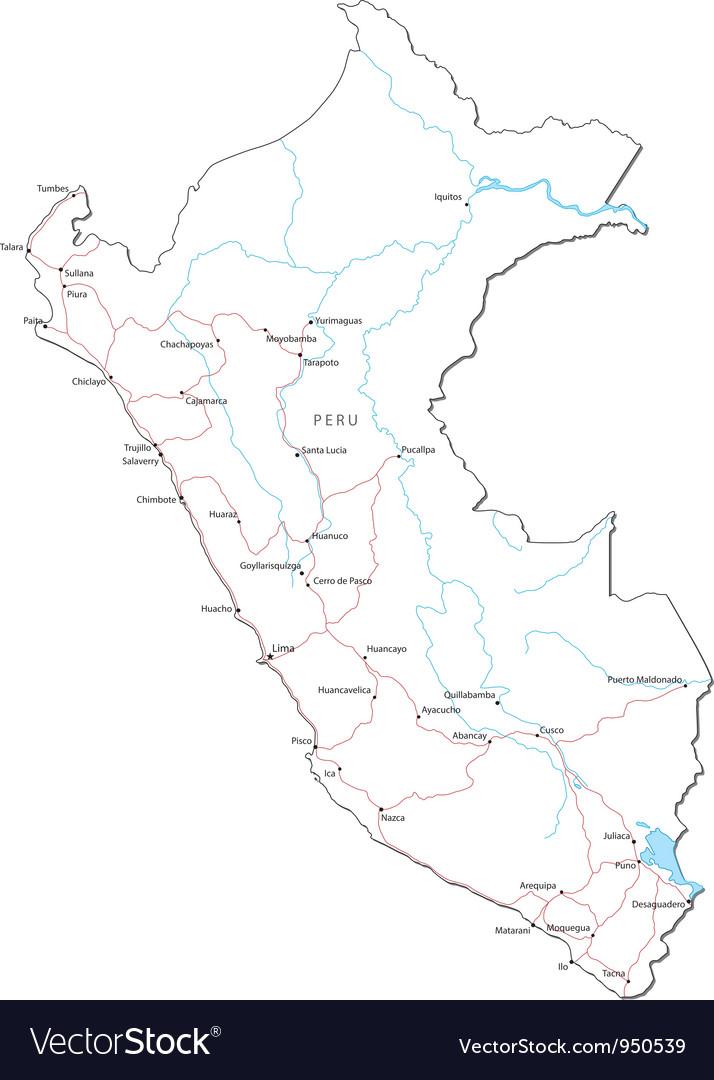 Peru black white map vector | Price: 1 Credit (USD $1)