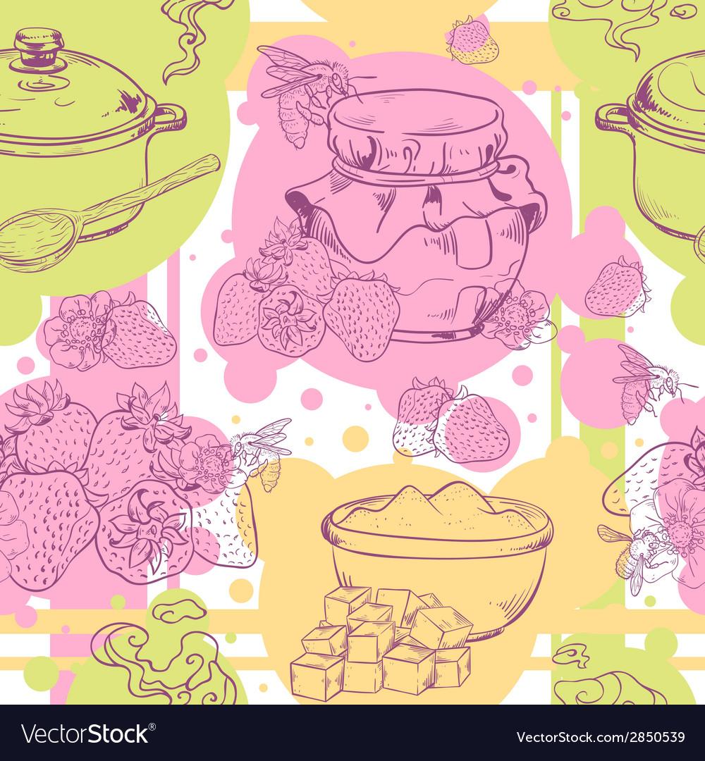 Strawberry jam seamless pattern vector | Price: 1 Credit (USD $1)