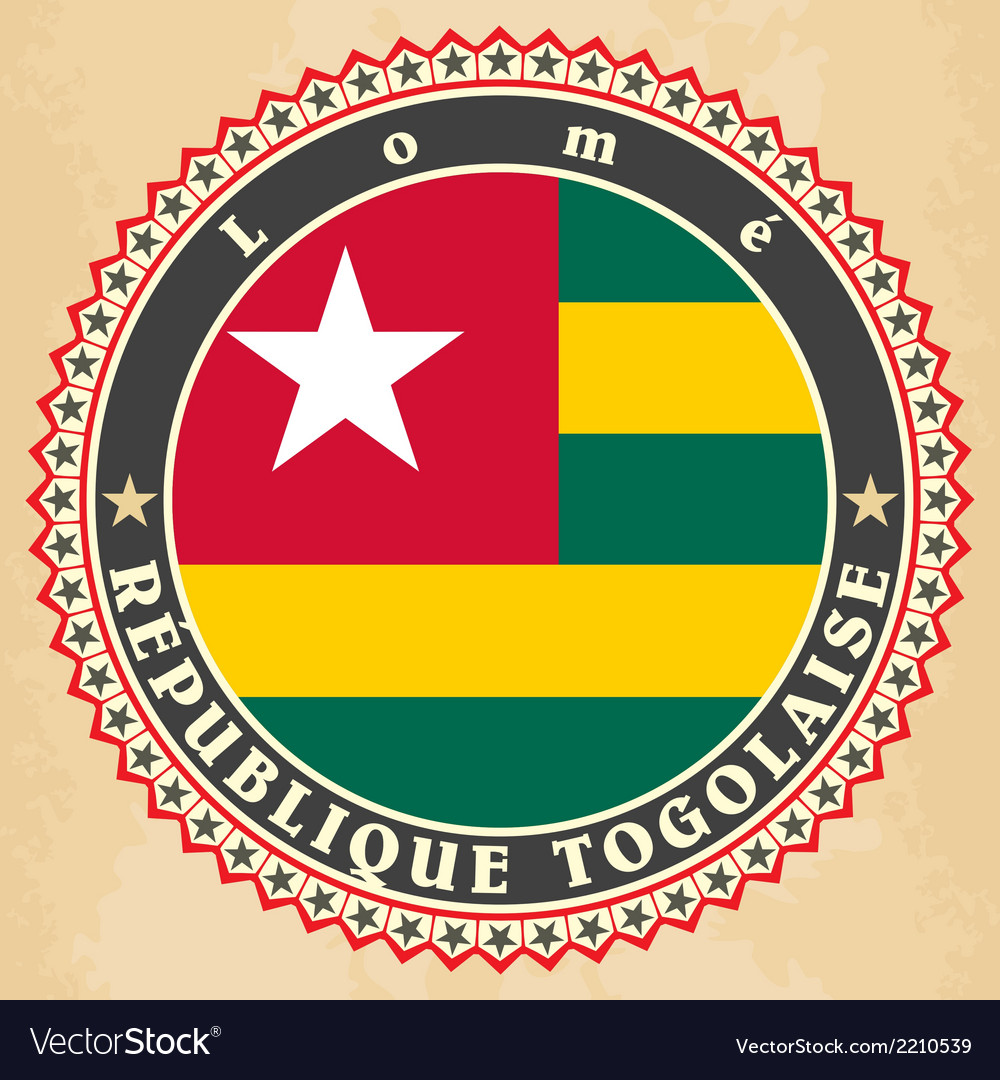 Vintage label cards of togo flag vector | Price: 1 Credit (USD $1)