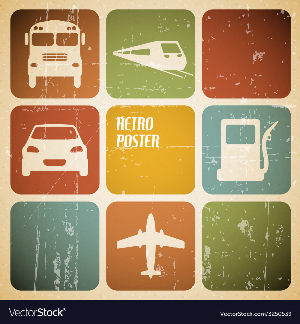Vintage transport traffic poster vector | Price: 1 Credit (USD $1)