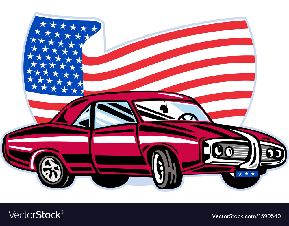 American pontiac muscle car with flag vector | Price: 1 Credit (USD $1)