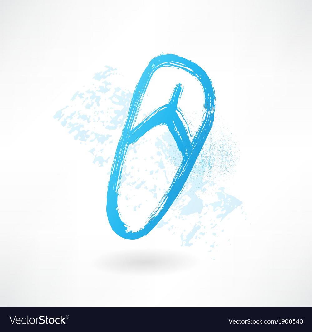 Beach shoe grunge icon vector | Price: 1 Credit (USD $1)