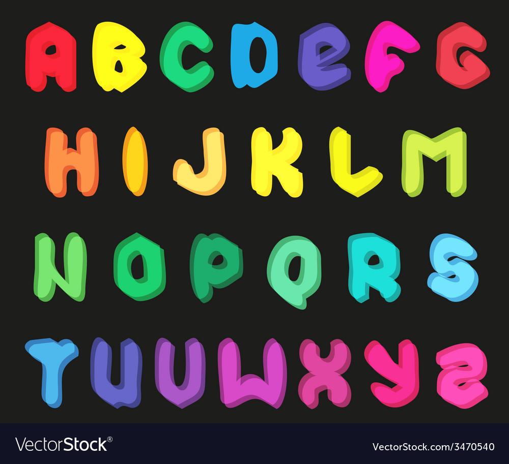Creative multicolor alphabet set on black vector | Price: 1 Credit (USD $1)