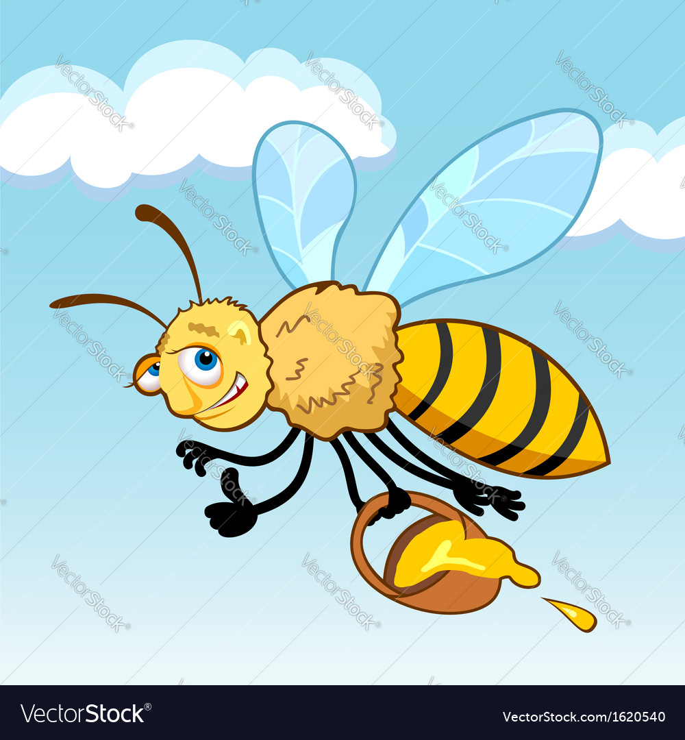 Honey bee cartoon in fly vector | Price: 1 Credit (USD $1)