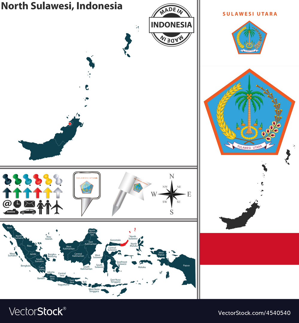 Map of north sulawesi vector | Price: 1 Credit (USD $1)