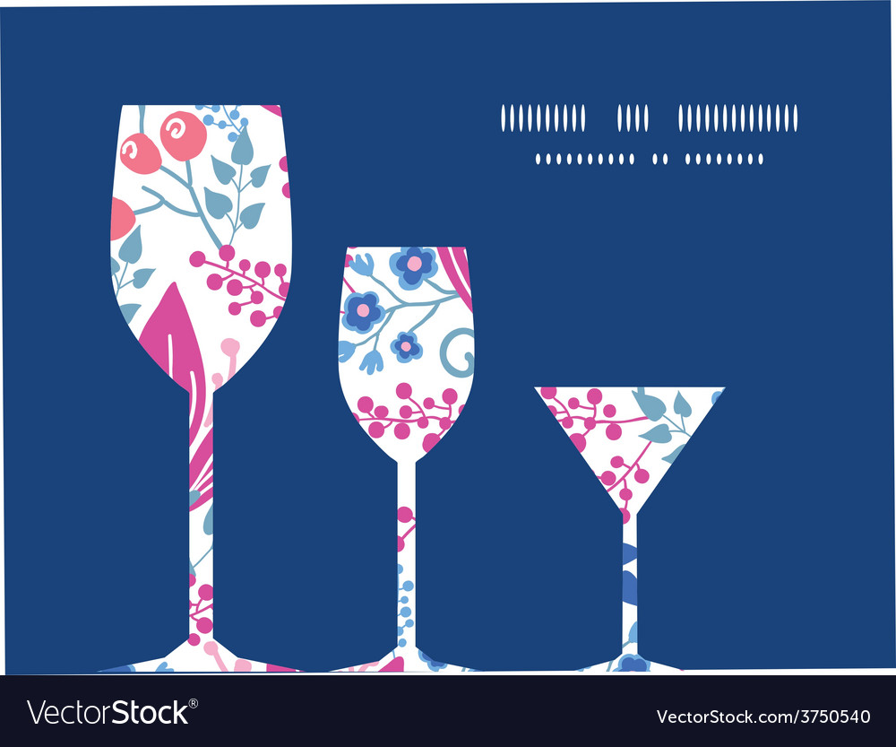 Pink flowers three wine glasses silhouettes vector | Price: 1 Credit (USD $1)
