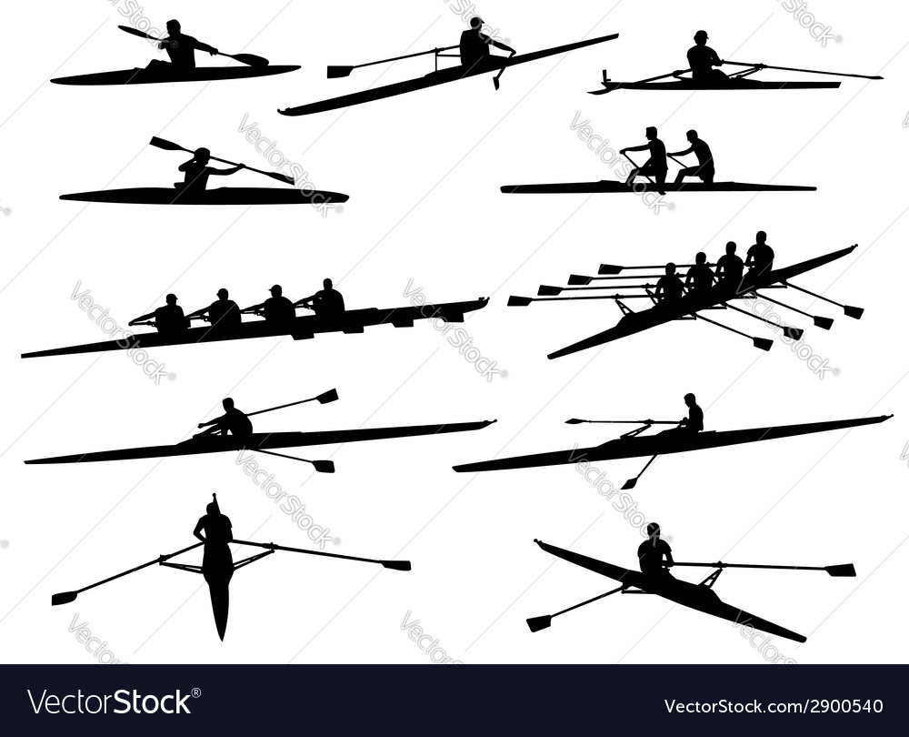 Rowing silhouettes vector | Price: 1 Credit (USD $1)