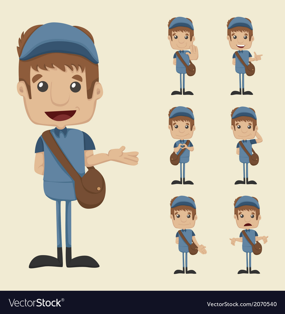Set of postman vector | Price: 1 Credit (USD $1)
