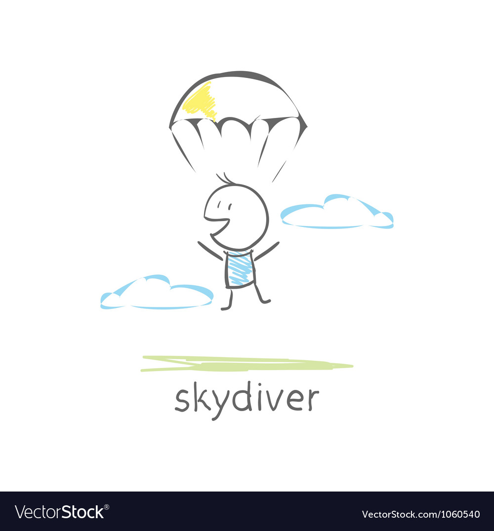 Skydiver vector | Price: 1 Credit (USD $1)