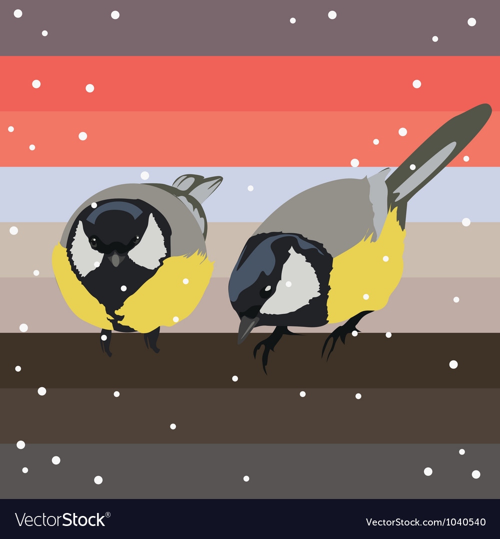 Two titmouses under snow vector | Price: 1 Credit (USD $1)