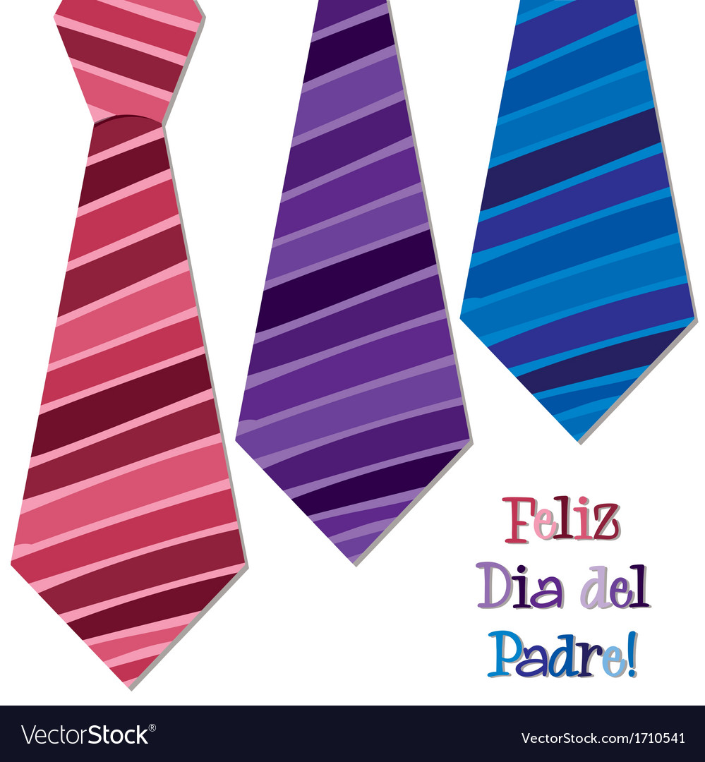 Bright spanish happy fathers day neck tie card in vector | Price: 1 Credit (USD $1)
