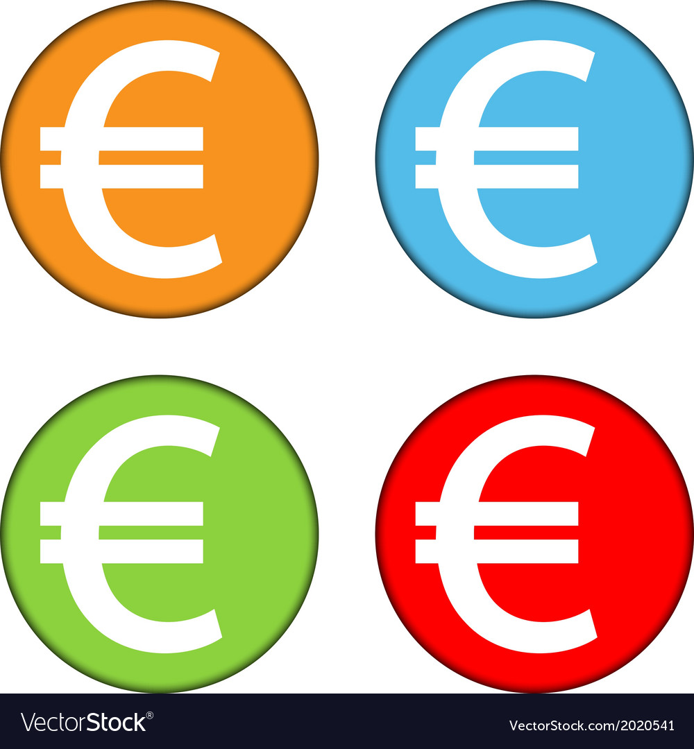 Euro sign button set vector | Price: 1 Credit (USD $1)