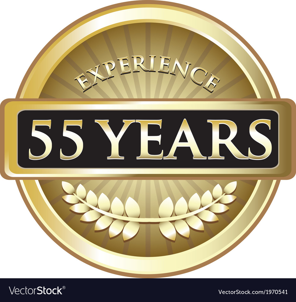 Fifty five years experience gold vector | Price: 1 Credit (USD $1)