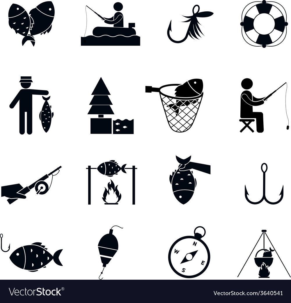 Fishing icon black vector | Price: 1 Credit (USD $1)