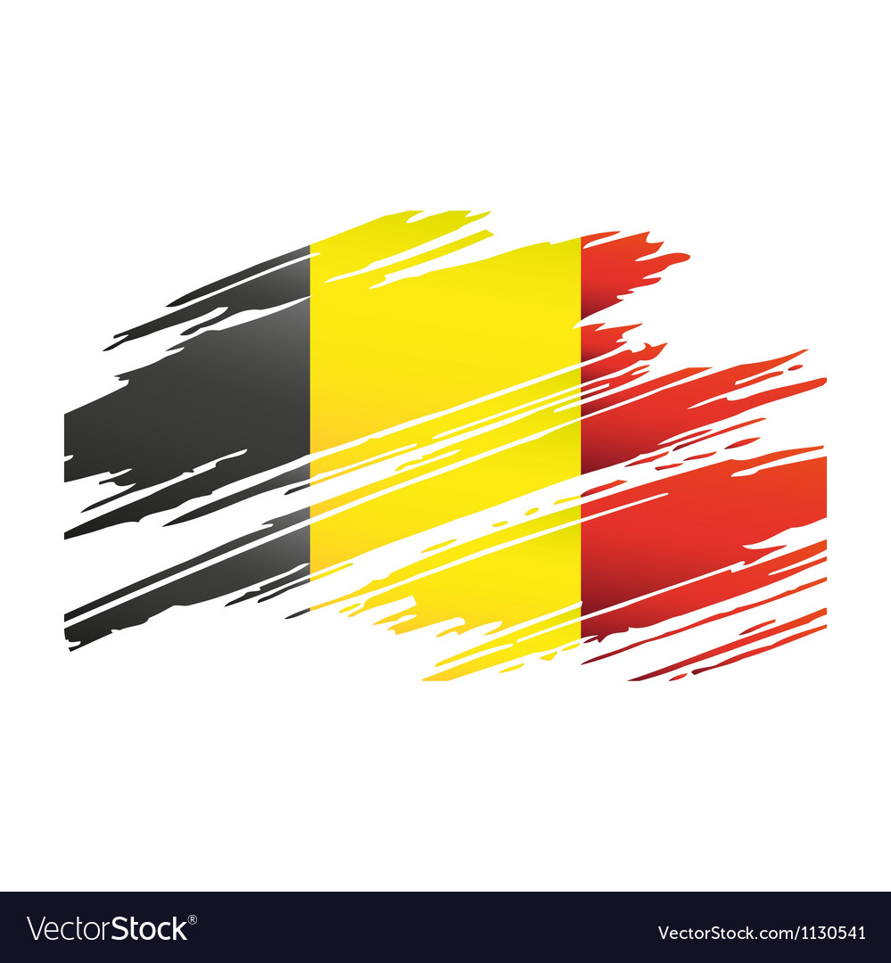 Flag belgiumin the form traces brush vector | Price: 1 Credit (USD $1)