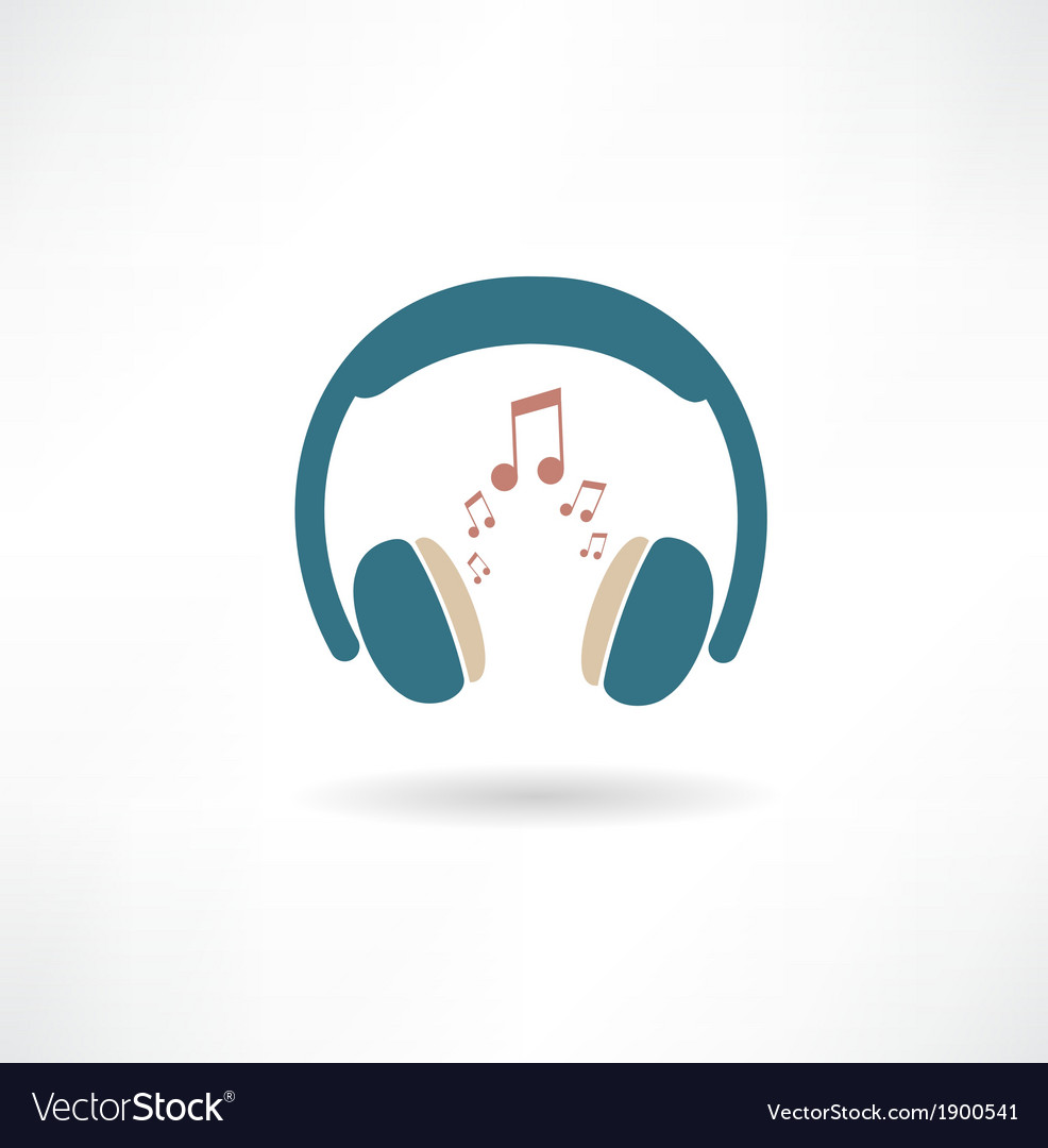 Headphones and notes icon vector | Price: 1 Credit (USD $1)