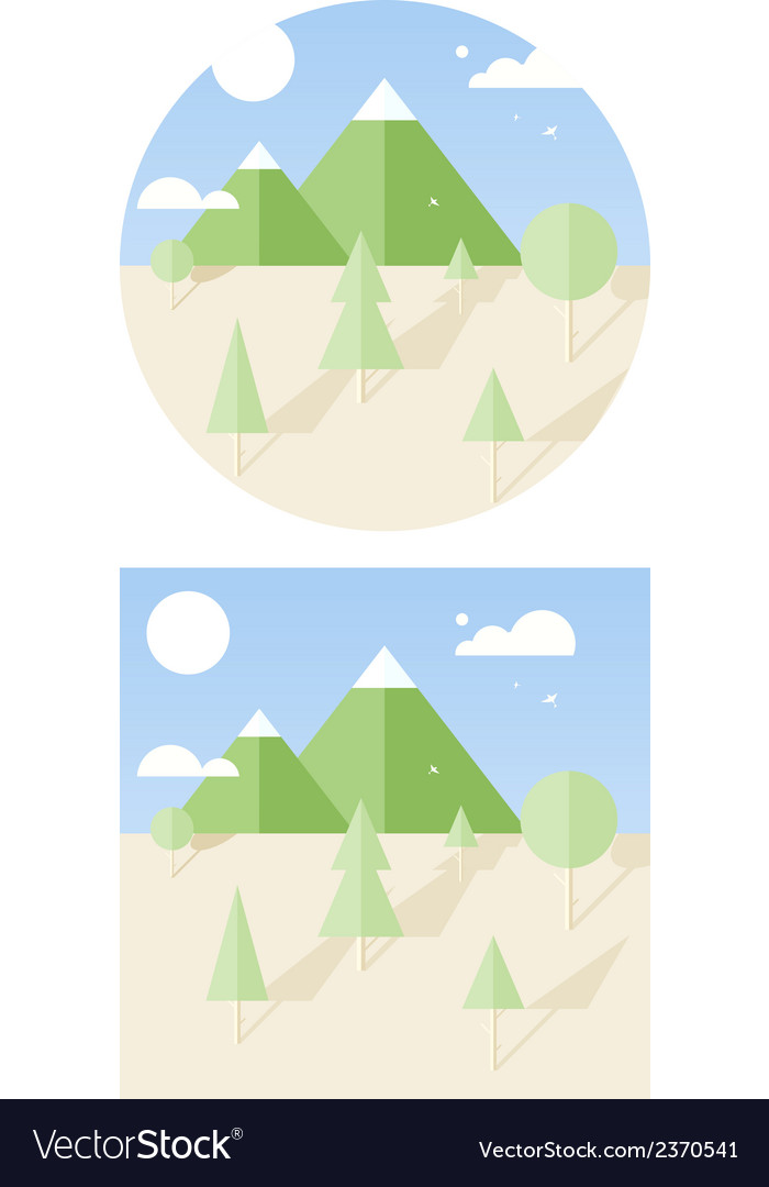 Hipster landscape flat style vector | Price: 1 Credit (USD $1)