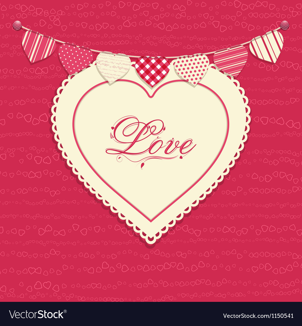 Love heart and bunting background vector | Price: 1 Credit (USD $1)