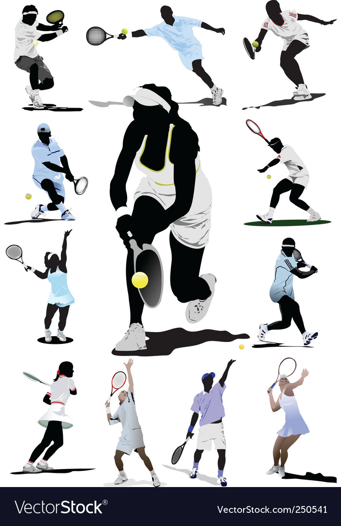 Twelve tennis players vector | Price: 1 Credit (USD $1)